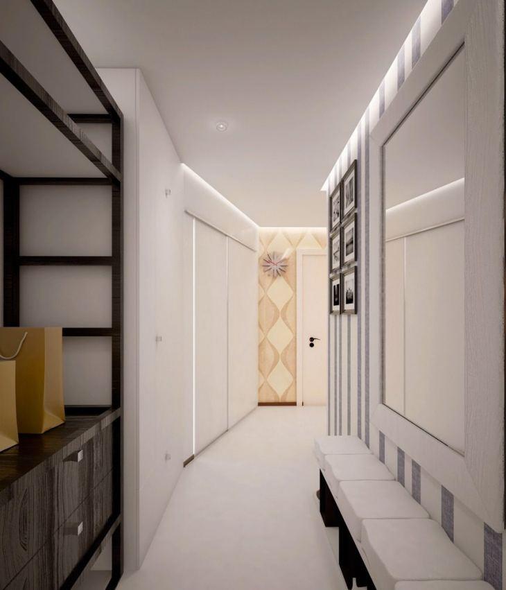 узкий коридор встроенный шкаф освещение фото