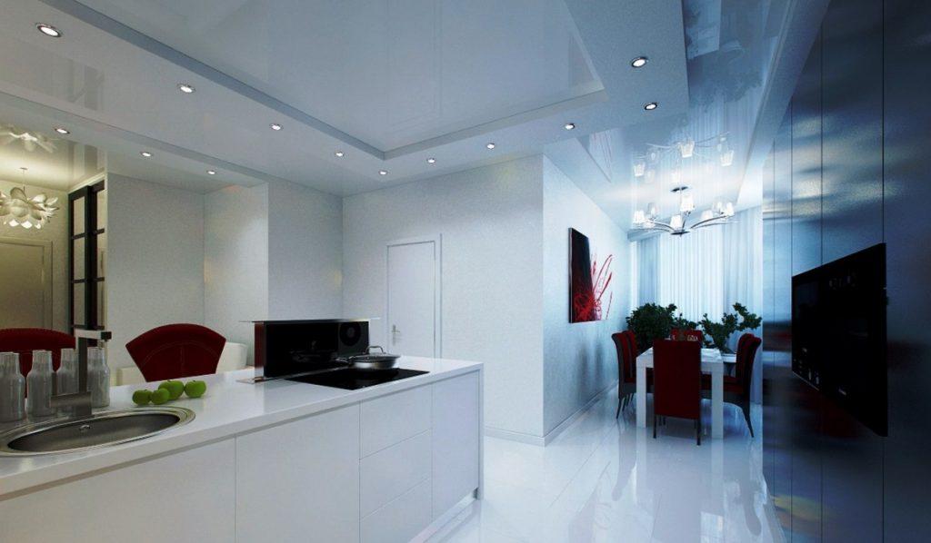натяжной потолок с подсветкой на кухне фото первой накачки