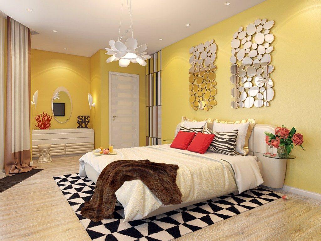 нас предусмотрена спальня в желтом цвете фото мобильном